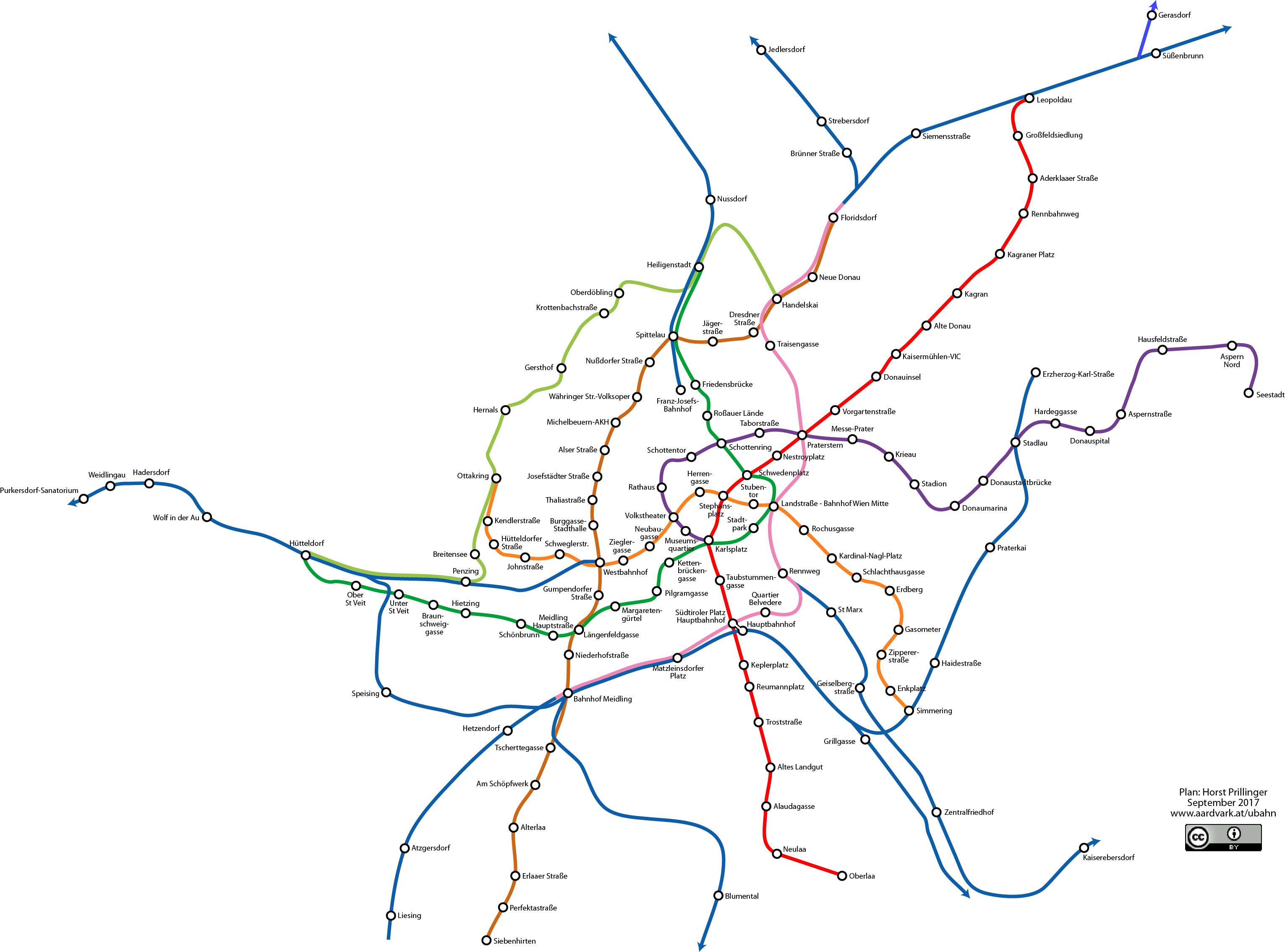 Geographically Correct Network Map Subway and Rapid Transit Vienna