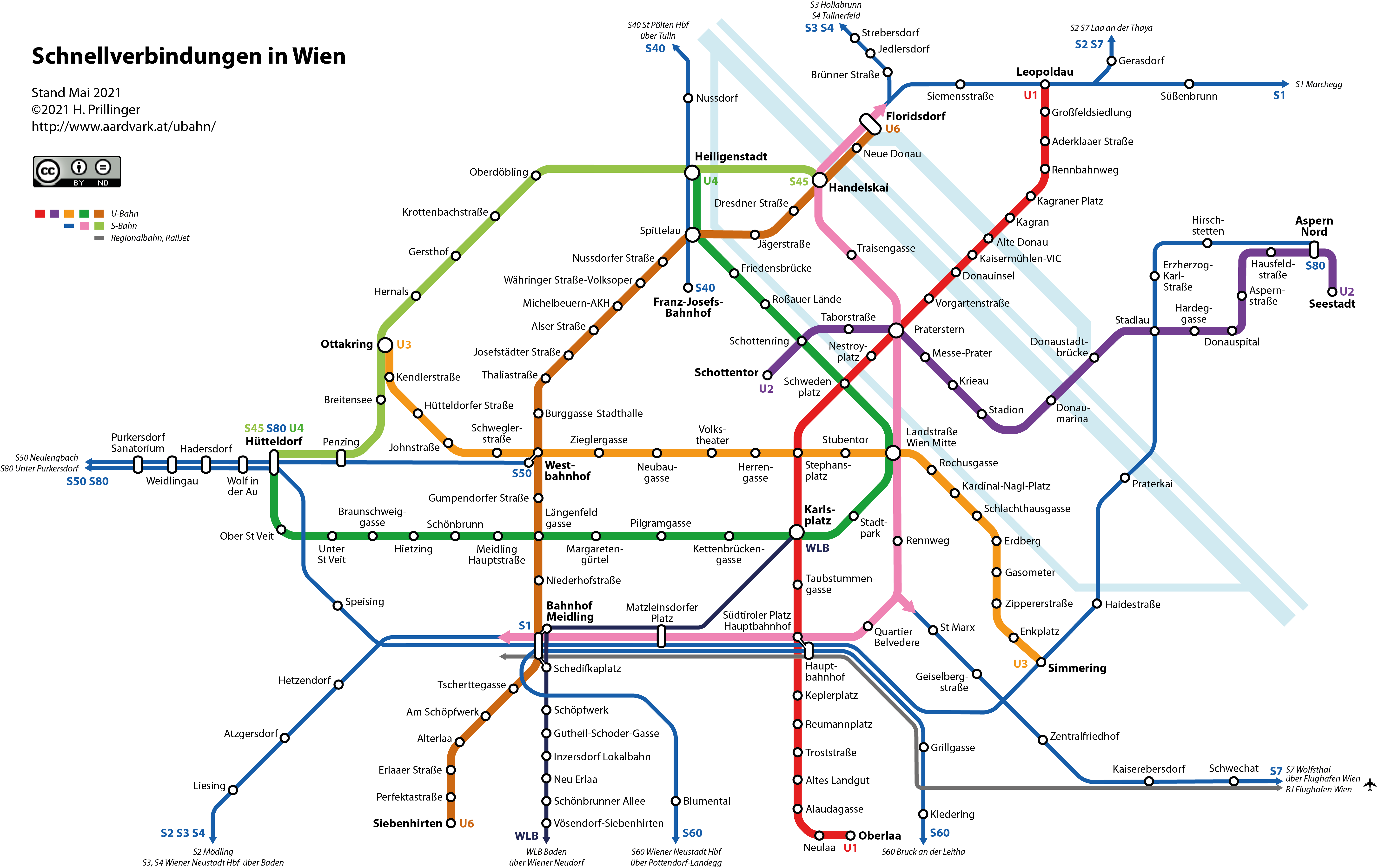 Network Map Subway and Rapid Transit Vienna City Area High