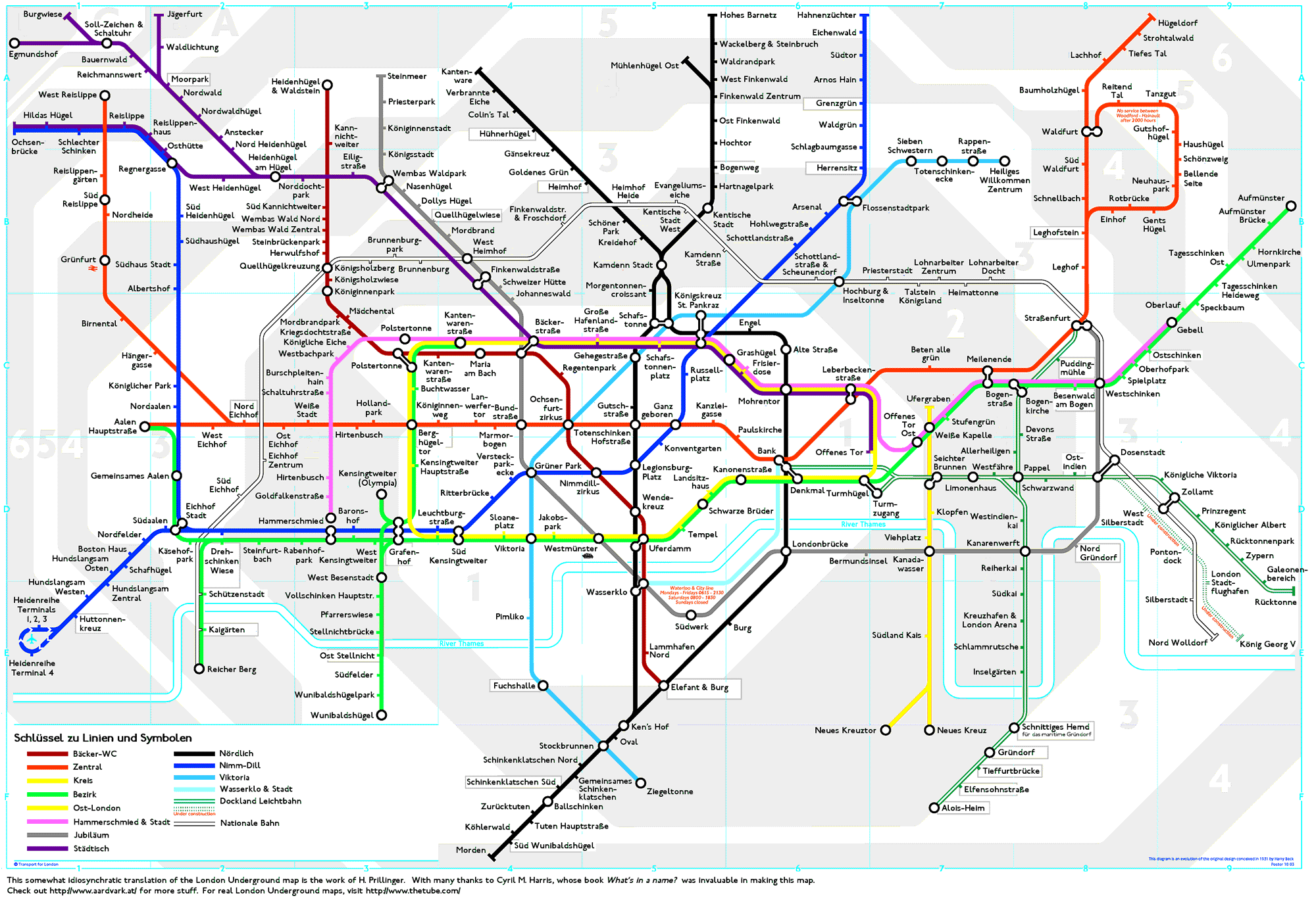 Map Of London With Underground.London Underground Map Translated Into German Londoner U Bahn Plan
