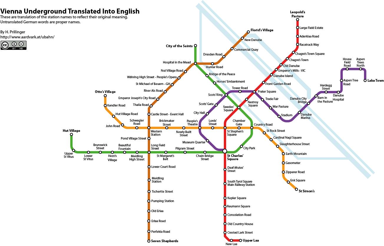 Vienna Underground Map translated into English Wiener UBahnPlan