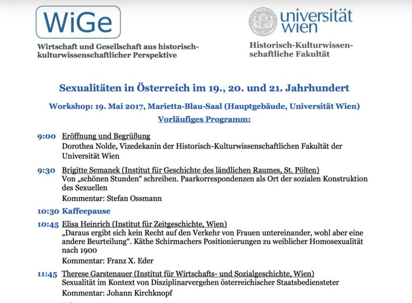 "Workshop ""Sexualities in Austria in the 19th and 20th Century"""