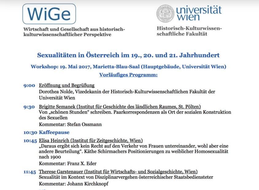 Workshop Sexualitäten in Österreich im 19. und 20. Jahrhundert